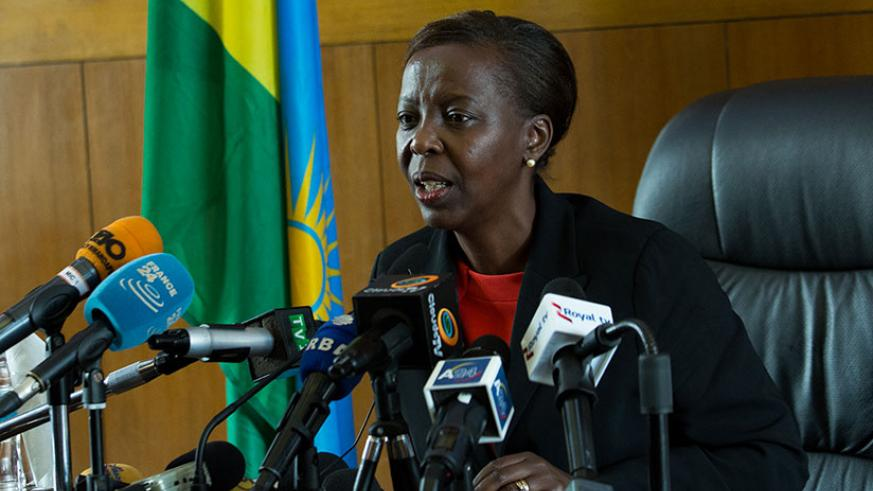 Foreign Affairs minister Louise Mushikiwabo speaks to media in Kigali. (Timothy Kisambira)