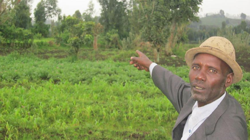 Kimbirima points at the land (overgrown with trees) where his relatives lived before they were killed in the Genocide. / Eugene Kwibuka