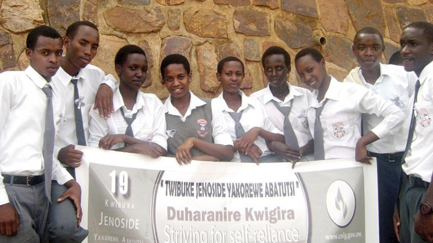 Students of Kagarama SS commemorate the 1994 Genocide against the Tutsi. Messages to fight Genocide ideology can be transmitted through school clubs.  (Dennis Agaba)