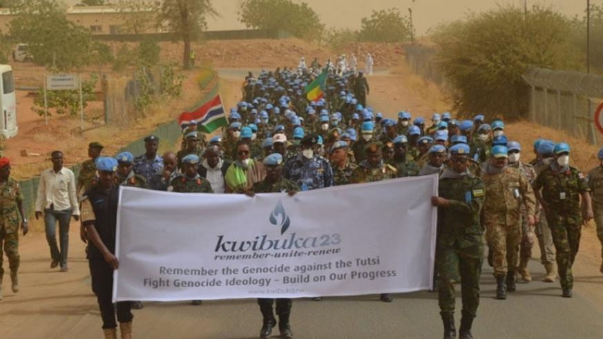 Rwanda peacekeepers during a   Walk to Remember in Darfur as they comemmorate the 1994 Genocide against the Tutsi. (Courtesy)