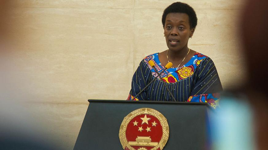 The minister of health Dr. Diane Gashumba expresses gratitude for the corporation between Rwanda and China during her remarks at the event organized by the Chinese embassy to bid f....