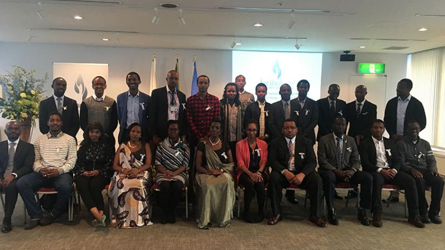 Some of the members of the   Rwandan Community in Japan who attended the Commemoration in Tokyo
