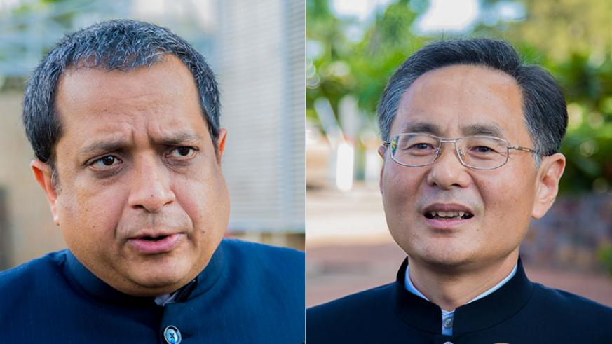 The new High Commissioner of India, Ravi Shankar (L) and Chinese envoy Rao Hongwei. / Faustin Niyigena