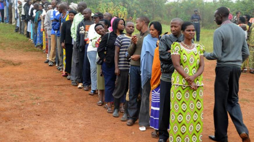 Kicukiro District residents queue to vote during a past election. / File