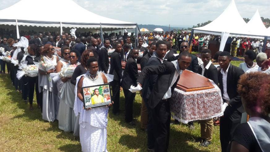 Remains of over 7000 Genocide victims were buried at Kibungo Genocide Memorial on Saturday. / Kelly Rwamapera