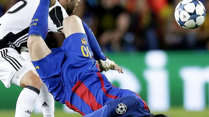 Messi falls flat on his face after he was involved in a challenge with Pjanic in a dangerous area as Barcelona continued to press. Net photo