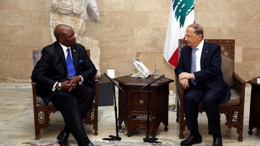 Amb Williams Nkurunziza in a meeting with Lebanese President General Michel Aoun in Beirut on Friday. Courtesy.