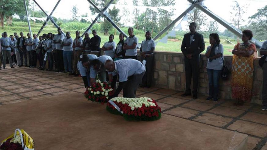 BPR staff pay tribute to Tutsi victims mourned at Ntarama Genocide Memorial. / Eddie Nsabimana
