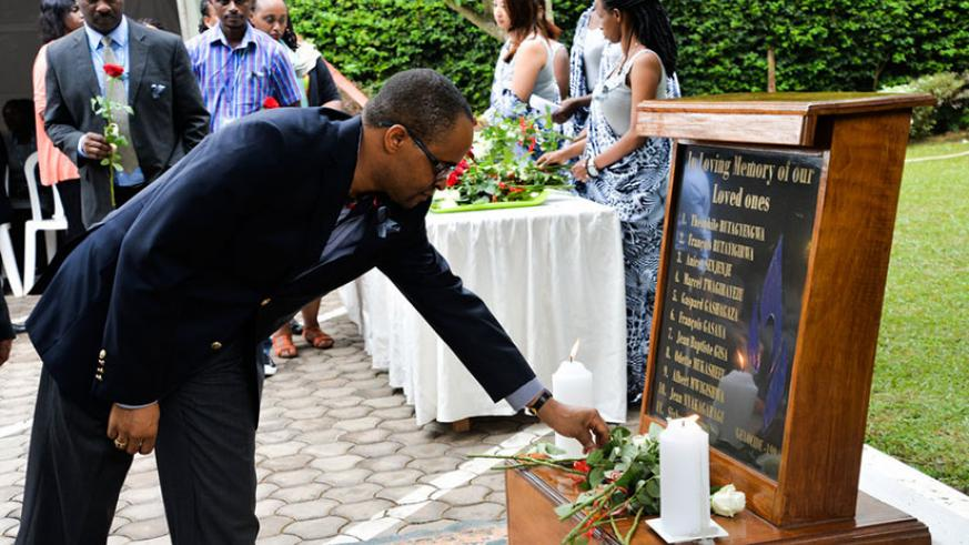 UNHCR staffers pay tribute to the victims of the 1994 Genocide against the Tutsi on Friday. / Courtesy
