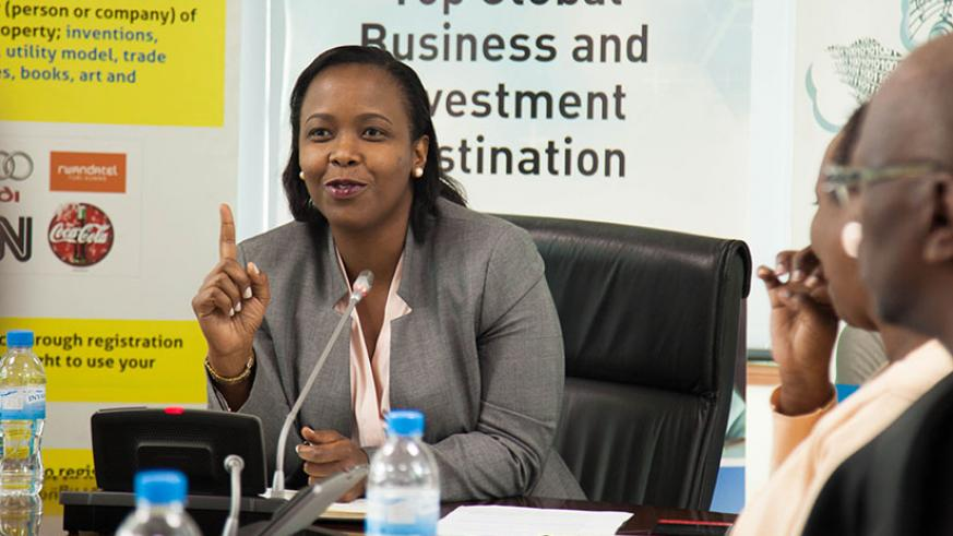 Akamanzi briefs the media on the issue of intellectual property last week. / Nadege Imbabazi