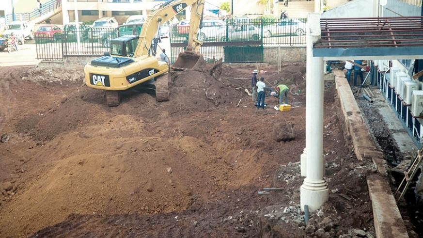 A digger at a construction site at the Ministry of Finance and Economic Planning where internet cables were damaged on Wednesday. File