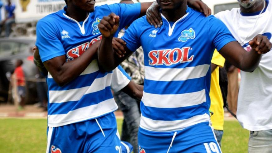 Mali striker Tidiane Kone (right) celebrates with a teammate after scoring against Musanze FC on Saturday. / Courtesy