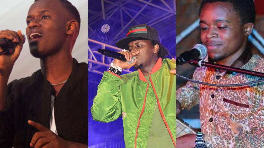 L-R: Yvan-Buravan, Rapper Riderman and Deo Munyakazi from Afrogroov Band are among the artistes lined up to perform. / File