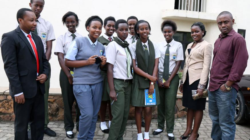 Students of Riviera High School pose for a photo with their teachers during a past visit to The New Times offices in Kimihurura. / File