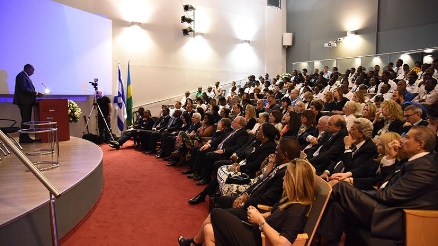 Amb. Rutabana addresses the mourners in Israel on Saturday. / Courtesy