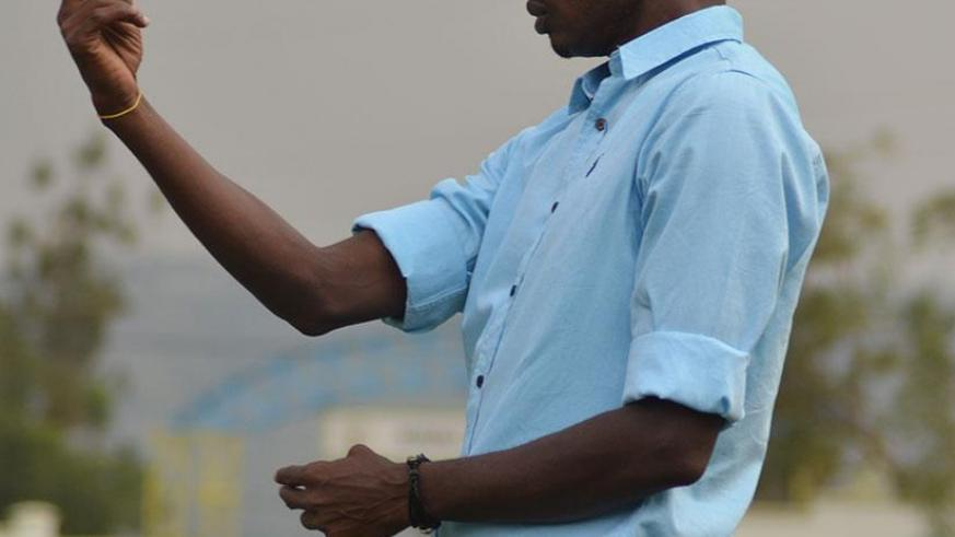 Djuma Masudi gestures on the touchline during a past match. The Rayon Sports head coach has resumed his duties after a one-week suspension. / Sam Ngendahimana