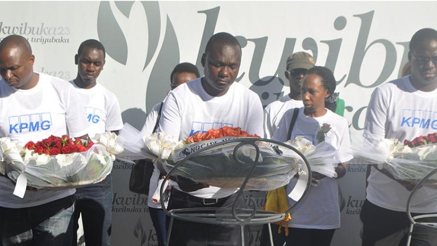KPMG staff last week as they remembered victims of the 1994 Genocide against the Tutsi (Courtesy photo)
