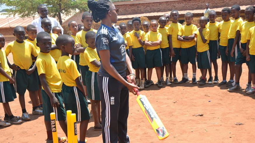 Mary Maina trains primary school kids in Huye District. The newly-elected RCA secretary general says the next two years will be dedicated to talent detection. / Courtesy