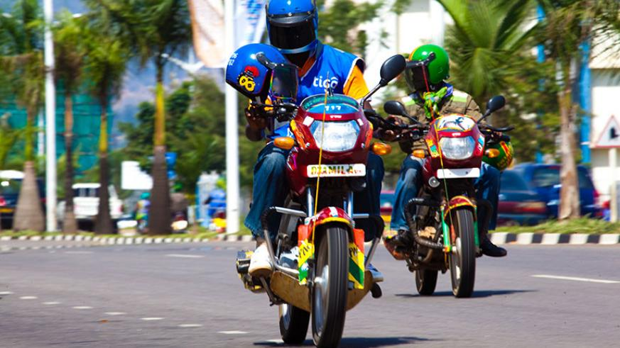 Some of the taxi-moto operators in Kigali. / Timothy Kisambira