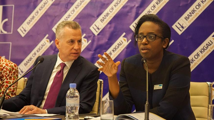 Dr Karusisi speaks as Holtzman looks on during the Board meeting in Kigali, yesterday. Nadege Imbabazi.