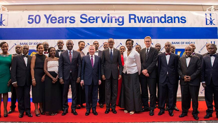 President Kagame with Bank of Kigali's Executive Committee and Board of Directors during a dinner to celebrate the Bank's 50th anniversary.