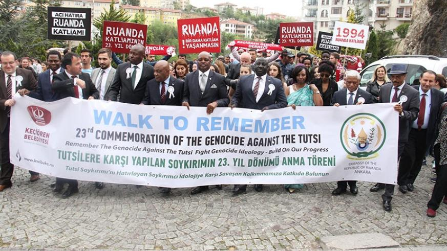 Rwandans in Turkey were joined by over 300 Turkish citizens in a walk to remember to mark the 23rd commemoration of the 1994 Genocide against the Tutsi. Courtesy