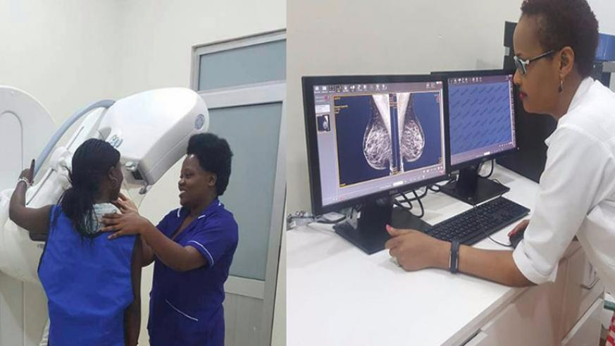 A woman being screened for breast cancer with mammography at Rwanda Military Hospital. / Courtesy photo