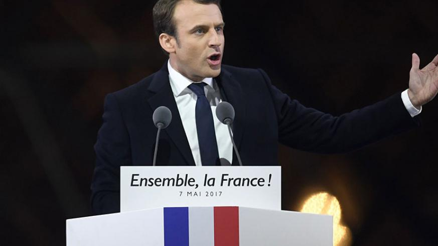 Emmanuel Macron delivers a speech in front of the Louvre Museum after winning the French presidential election. / Internet photo