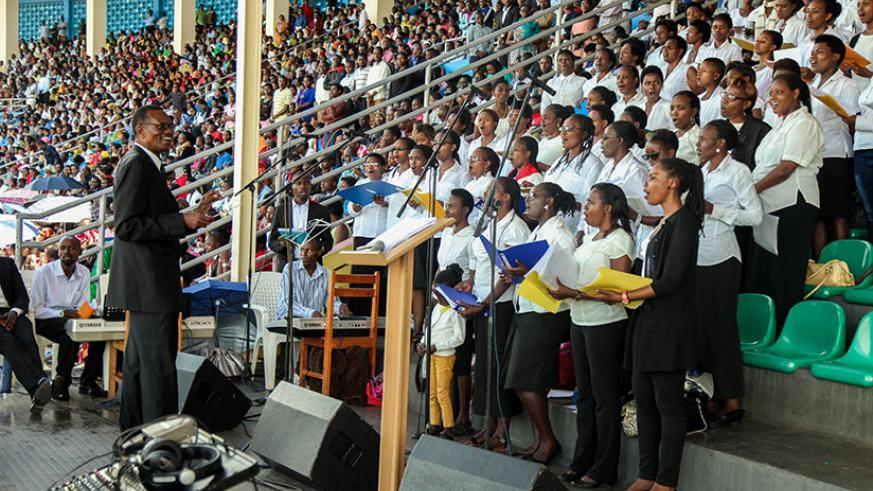 Regina Pacis choir sing during a mass for forgiveness, yesterday. / Nadege Imbabazi