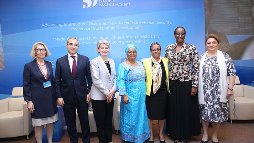 First Lady Mrs Kagame poses with First Ladies Mrs Keita Aminata Maiga of Mali (fourth left), Mrs Roman Tesfaye of Ethiopia (third right); DG of UNESCO Mrs Irina Bokova (third left); Mrs Saniye Gulser Corat, Director of Gender Equality Division, UNESCO (first l.); Mikayil Jabbarov, Minister of Education of Azerbaijan; and Hijran Huseynova, Chair of the State Committee for Family, Women and Children Affairs of Azerbaijan.