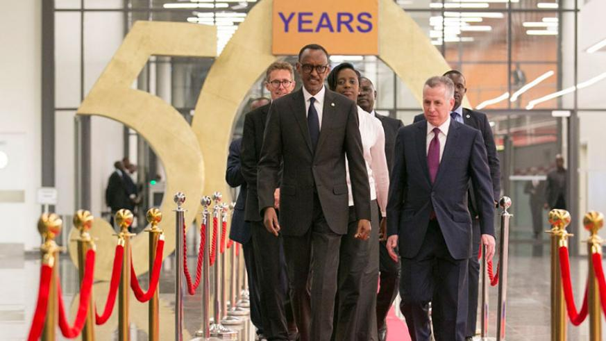 President Kagame, BK Chairman, Marc Holtzman, and other directors arrive for Bank of Kigali 50 years celebrations. / Photos: Timothy Kisambira