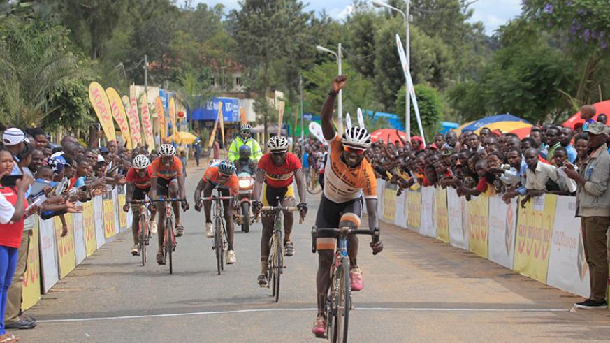 Les Amis Sportifs de Rwamagana rider Jean Claude Uwizeye celebrates his victory in the second race of the 2017 Rwanda Cycling Cup in Nyagatare.  / Sam Ngendahimana