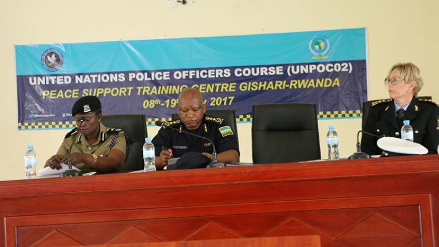 EASF head, ACP Dinah Kyasimire, DIGP Juvenal Marizamunda and ACP Cary Mariam as the opening of the UNPOC2 course.