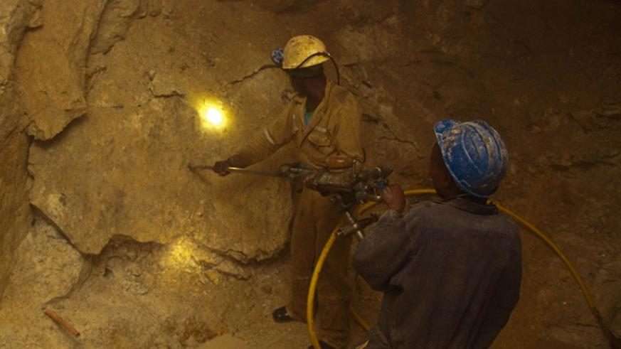 Miners in a tunnel at Gatumba Mining Centre in Ngororero District. (File)