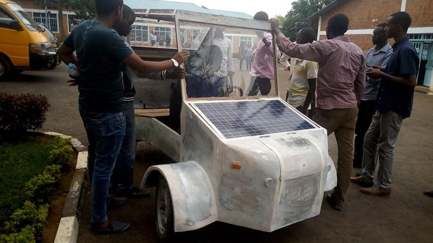 A solar car made by Rwandan Engineering students who who say it can contribute to the reduction of gas emissions by using green energy. ( Jean d'Amour Mbonyinshuti)