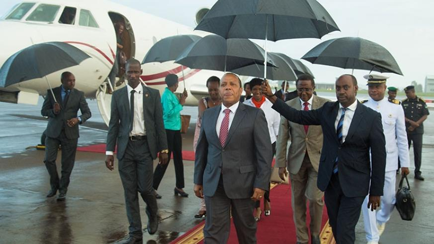 Patrice Trovoada, the prime minister of Sao Tome and Principe, arrives at Kigali International Airport for the third Smart Africa Summit yesterday. (All photos by Timothy Kisambira)