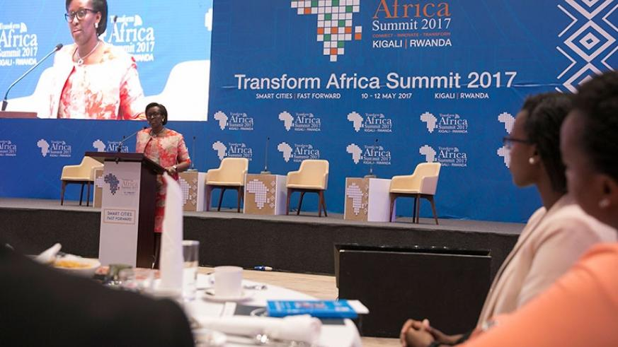 First Lady Jeannette Kagame delivers opening remarks at the Smart Health Opportunities in Africa in Kigali yesterday. (Courtesy)