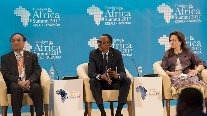 President Kagame with International Telecommunication Union secretary-general Houlin Zhao (left), and Dr Amani Abou-Zeid, the African Union Commissioner for Infrastructure and Energy during Transform Africa Summit's 'Conversations with Leaders' opening session in Kigali yesterday. (Village Urugwiro)