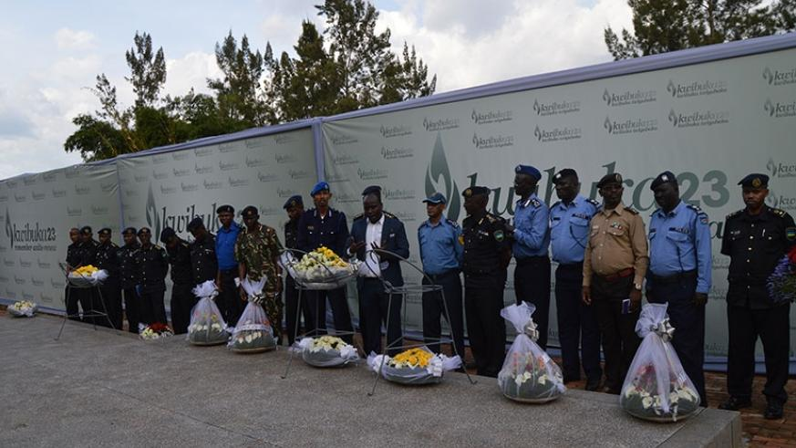 Police students from the region attending the 'Police Senior Command and Staff Course' at the National Police College (NPC) in Musanze District pay respects to genocide victims at Kigali Genocide Memorial, yesterday. (Courtesy)