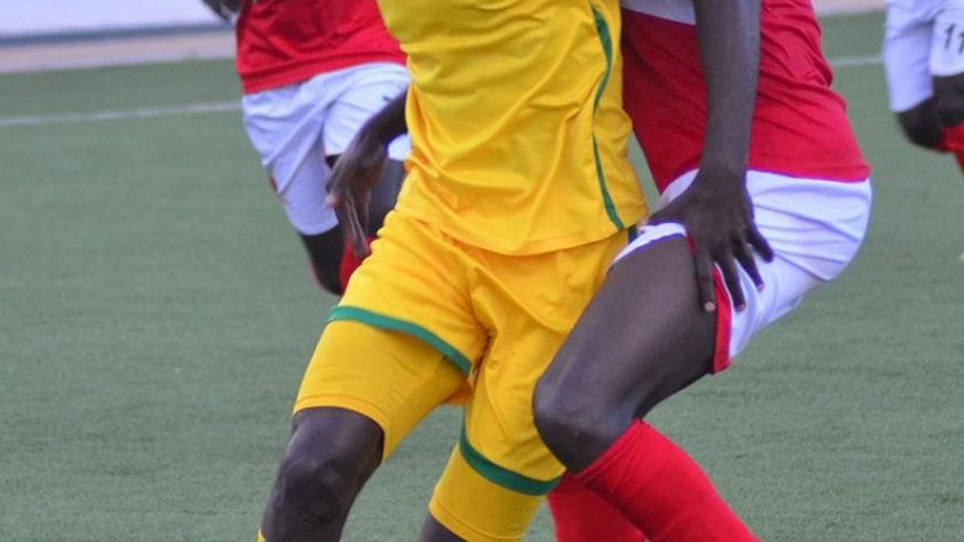 Striker Bernabe Mubumbyi (L), seen here in a league match against Musanze FC, will lead AS Kigali's line against Mukura in the Peace Cup second leg on Sunday evening. S. Ngendahimana