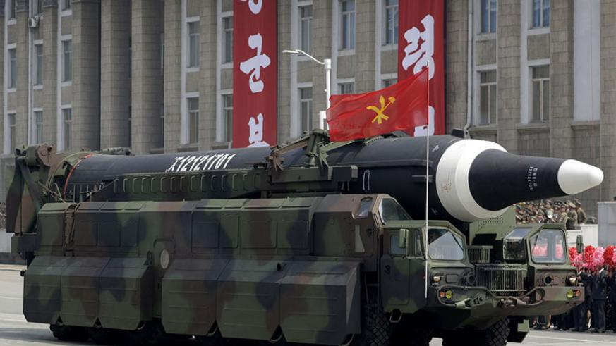 """An unidentified missile that analysts believe could be the North Korean Hwasong-12 is paraded across Kim Il Sung Square in Pyongyang. The country's official Korean Central News Agency said the missile fired Sunday, May 14, 2017, was a Hwasong-12 """"capable of carrying a large-size heavy nuclear warhead"""". The Hwasong-10 appeared in the military parade in Pyongyang on April 15, 2017, followed by this unidentified missile. / Internet photo"""