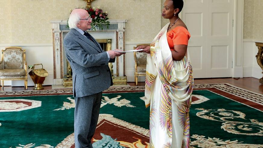 Yamina Karitanyi presents her letters of credence to the President of Ireland, Michael Higgins. / Maxwell Photography