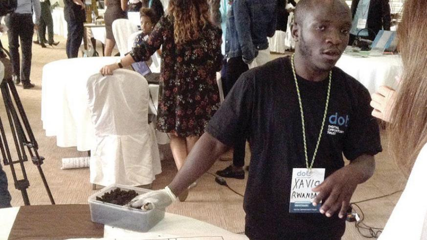Xavio Dominique Imbabazi, a graduate from University of Rwanda's College of Agriculture uses earthworms to make organic fertilizers. File