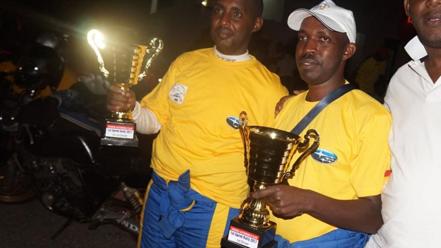 Gakwaya (R), navigated by Claude Mugabo (L) in a Subaru Impreza, won the 192.9 kilometer race after clocking 1 hour, 7 minutes and 52 seconds. Courtesy