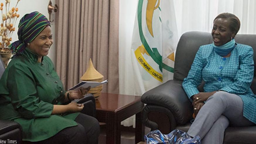 Phumzile Mlambo-Ngcuka, Under-Secretary General and Executive Director of UN Women with Rwanda's Minister of Foreign Affairs and Cooperation, Ms. Louise Mushikiwabo