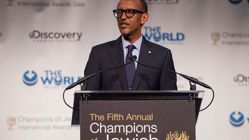 President Kagame speaking at the event in New York.