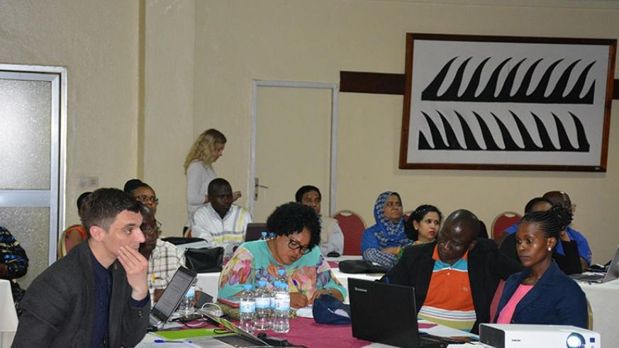 Regional scholars during a workshop to discuss integration of digital education in Kigali last month. (File)