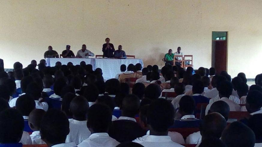 Students at Busasamana Secondary School follow the discussion by the legislators on Monday. (Courtesy)
