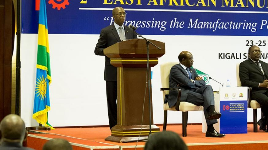 PM Murekezi addresses the business and manufacturing summit yesterday. (Photos by Timothy Kisambira)