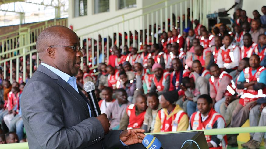 State Minister in charge of Transport, Dr. Alexis Nzahabwanimana speaking at the launch of the road safety week.